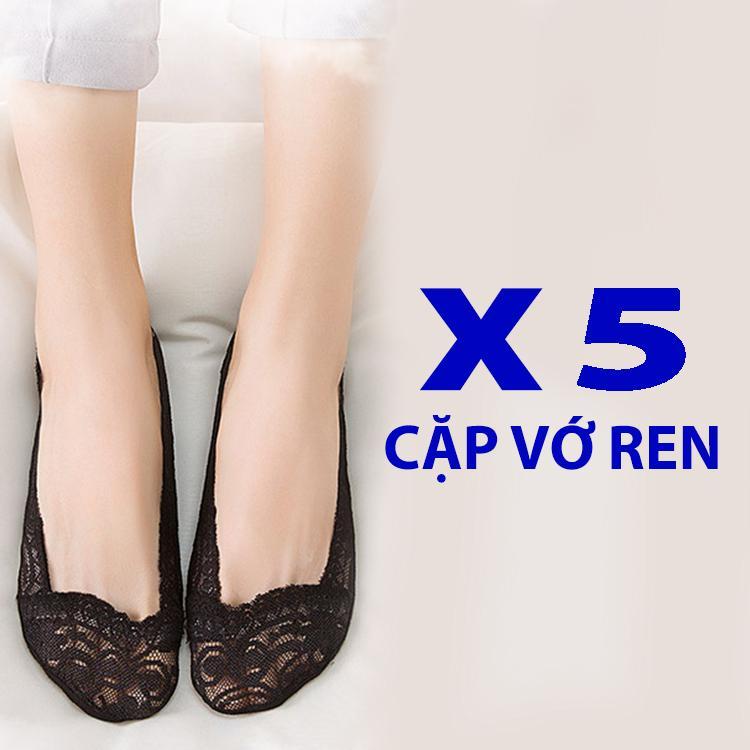 Bộ 5 đôi vớ ren cotton hút mồ hôi rất mềm mang giày cao gót, giày búp bê cực êm chân - PK07