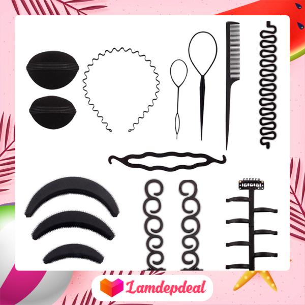 ♥ Lamdepdeal - Combo 9 dụng cụ tạo kiểu tóc đa năng - Dụng cụ làm tóc, tết tóc, thắt bím tóc, bộ phụ kiện đầy đủ nhất, có video hướng dẫn - Dụng cụ làm tóc cao cấp