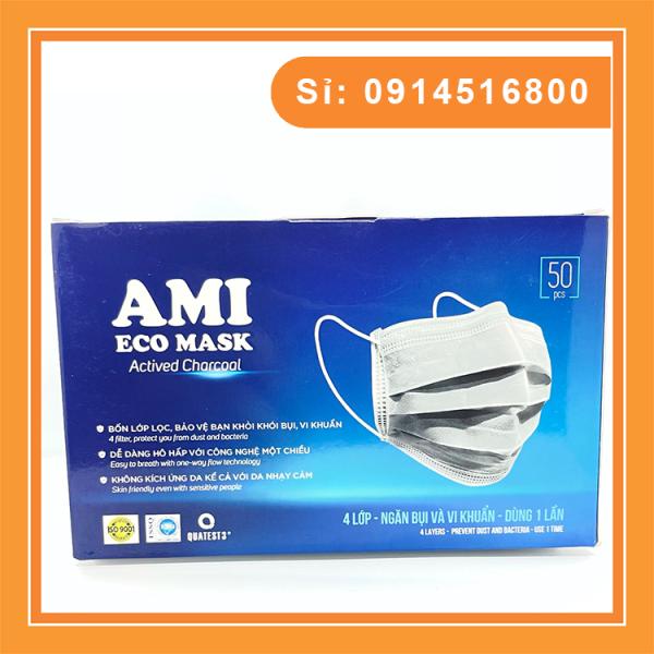 Khẩu trang y tế Ami 4 lớp, Hàng chuẩn công ty (Hộp 50c)