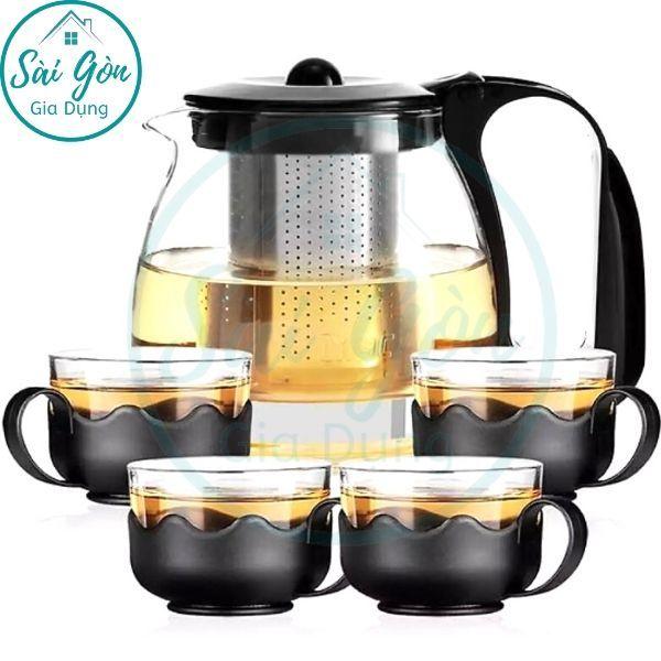 Bình trà - Bộ ấm trà thuỷ tinh có túi lọc INOX dung tích 1000ML + tặng kèm 4 LY THUỶ TINH dung tích 300ML SG-T027