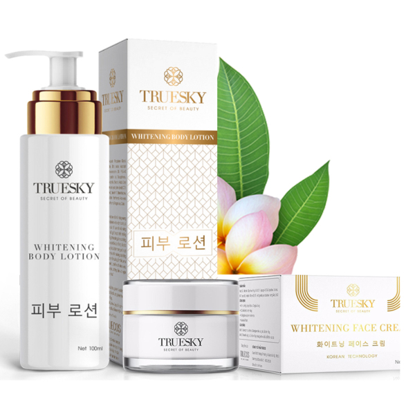 Bộ dưỡng trắng da mặt và body Truesky VIP01 gồm 1 kem dưỡng trắng da mặt 10g & 1 kem dưỡng trắng da toàn thân 100ml nhập khẩu