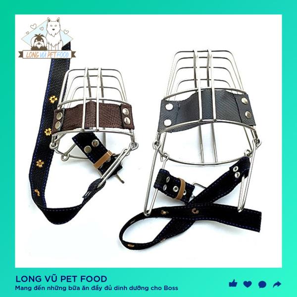 Rọ mõm chó inox cỡ lớn (dành cho chó từ 30kg - 60kg) - rọ mõm cho chó bằng inox không gỉ - Long Vũ Pet Food