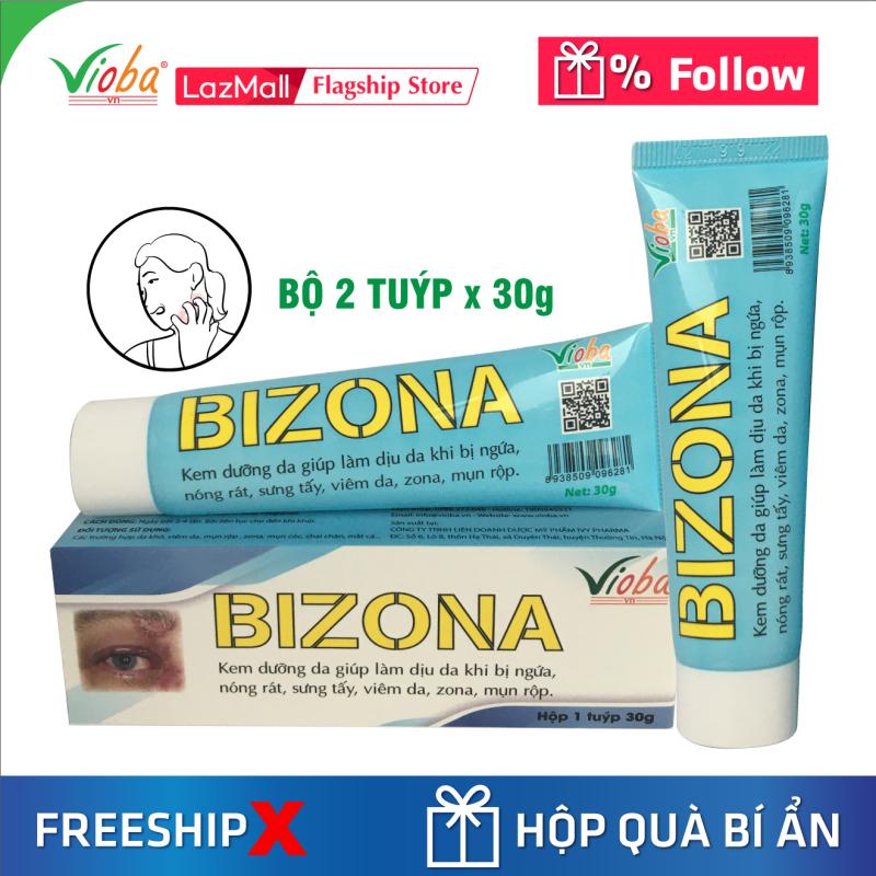 [2 tuýp] Kem chống dị ứng đông y, dưỡng da, giảm ngứa, dùng tốt khi bị zona, viêm da, mụn rộp. Tái tạo da, ngăn ngừa hình thành sẹo trong trường hợp bỏng nhẹ, vết côn trùng cắn, muỗi đốt. Kem bôi Bizona của Vioba, tuýp 30g giá rẻ