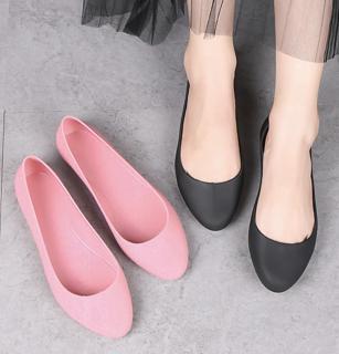 giày nhựa đi mưa giày búp bê công sở đế mềm siêu nhẹ màu đen, kem size 36 đến 40 V182 thumbnail