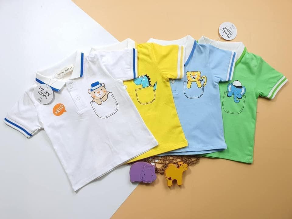 Áo phông cộc tay cổ bẻ Minky Mom cho bé trai 1-4 tuổi