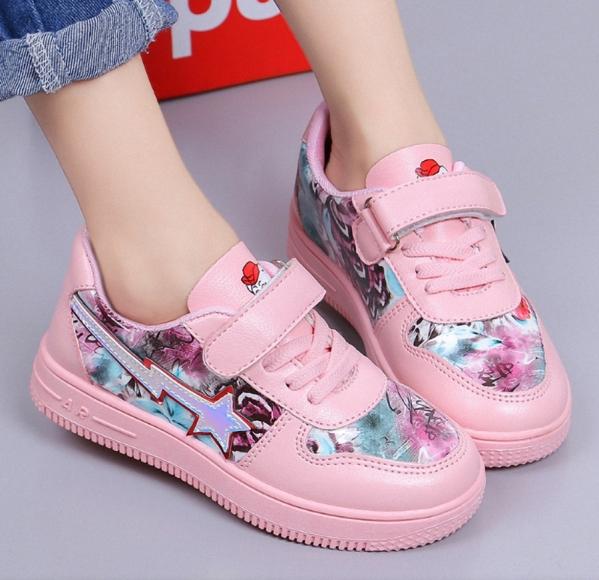Giày thể thao da bé gái đi học size 27 - 37 êm chân   - GBG96 giá rẻ