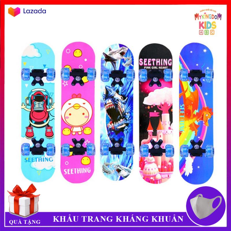 Ván trượt trẻ em Skateboard cao cấp làm từ gỗ ép 8 lớp, bánh xe PU chất lượng cao, in hình đang yêu giành cho bé