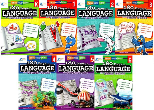 bộ sách 7 quyển 180 Days of Language ( LV K-6)