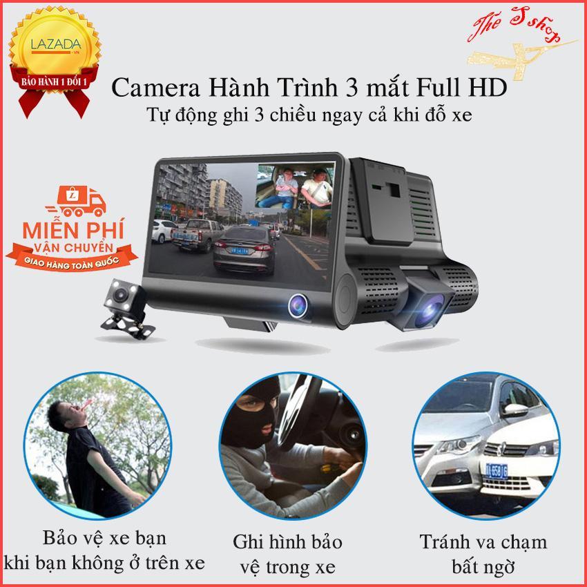 [TẶNG KÈM THẺ NHỚ 32G] Camera hành trình ô tô 3 mắt camera, màn hình 4 inh full HD 1080, camera sau chống nước,hỗ trợ thẻ 32g, ghi hình đa chiều, Tự động ghi hình nếu phát hiện chuyển độngbất cứ ai ở phía trước xe khi đang đỗ xe- hong long
