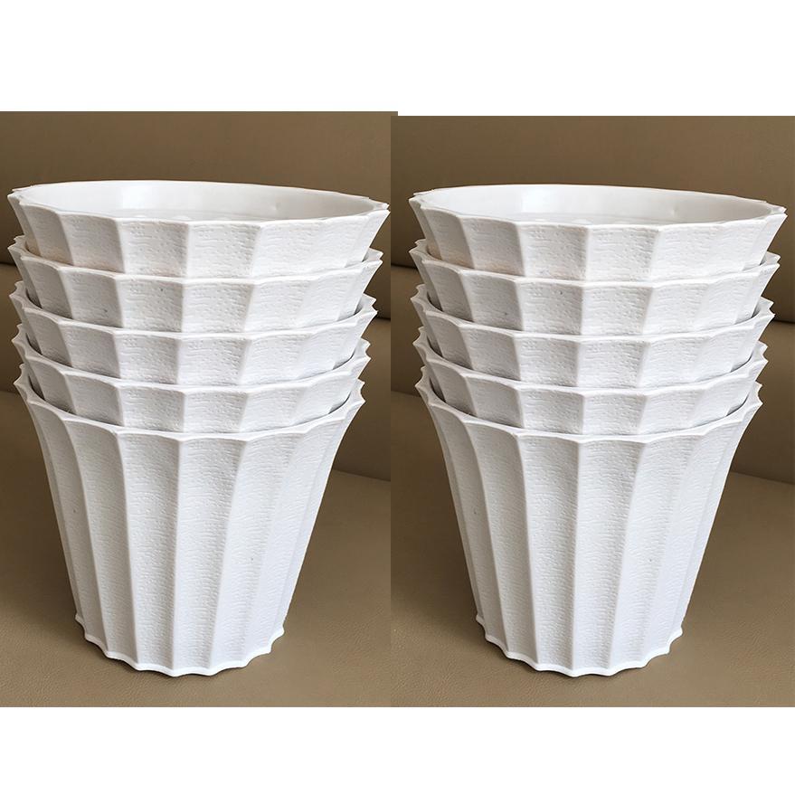 Bộ 10 chậu khía nhựa màu trắng đẹp size 18x15cm