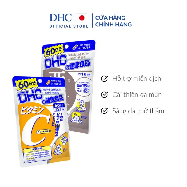 Combo Viên uống DHC Giảm mụn - Mờ thâm 60 Ngày (Kẽm & Vitamin C)