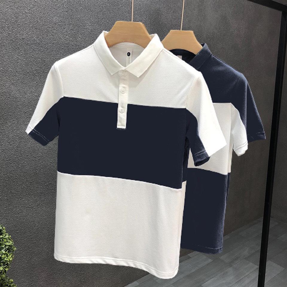 Áo thun polo phối xanh than cổ bẻ cao cấp, chất liệu cotton cá sấu, phong cách thể thao , 2 màu trắng đen, full size từ 35-90kg
