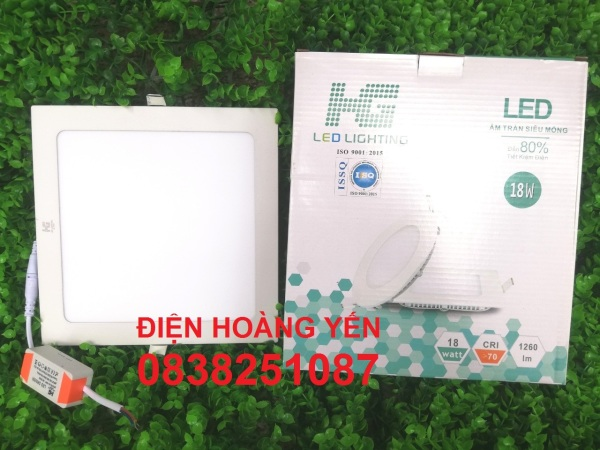 Đèn LED âm trần Vuông 18w ánh sáng trắng. Mua về chỉ gắn vô là xài - Kích thước mặt ngoài đèn: 22 x 22 cm