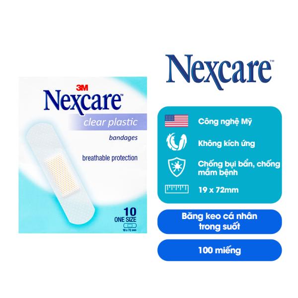 Băng keo cá nhân trong suốt Nexcare 3M Clears10 100 miếng (10 gói x 10 miếng), băng keo cá nhân Nexcare trong suốt có độ dính cao