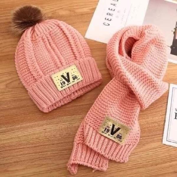 ♥️♥️♥️ Set khăn mũ len chữ V có quả bông siêu ấm cho bé. Combo sét bộ mũ + khăn