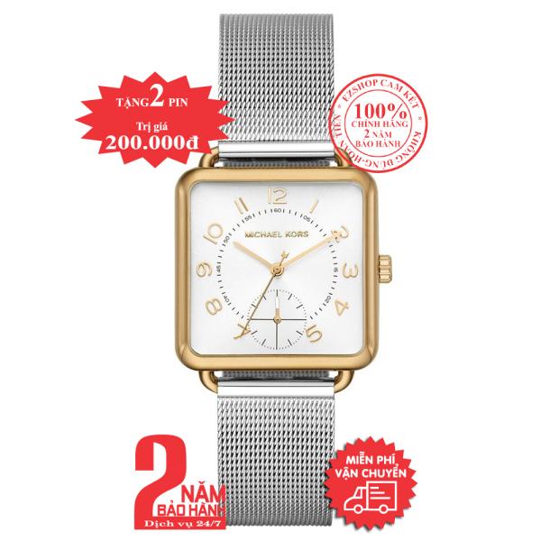 Đồng hồ nữ MK MK3846 mặt vuông, size 31mm , vỏ màu Vàng (Gold), mặt màu Bạc (Silver)- Model no: MK3846