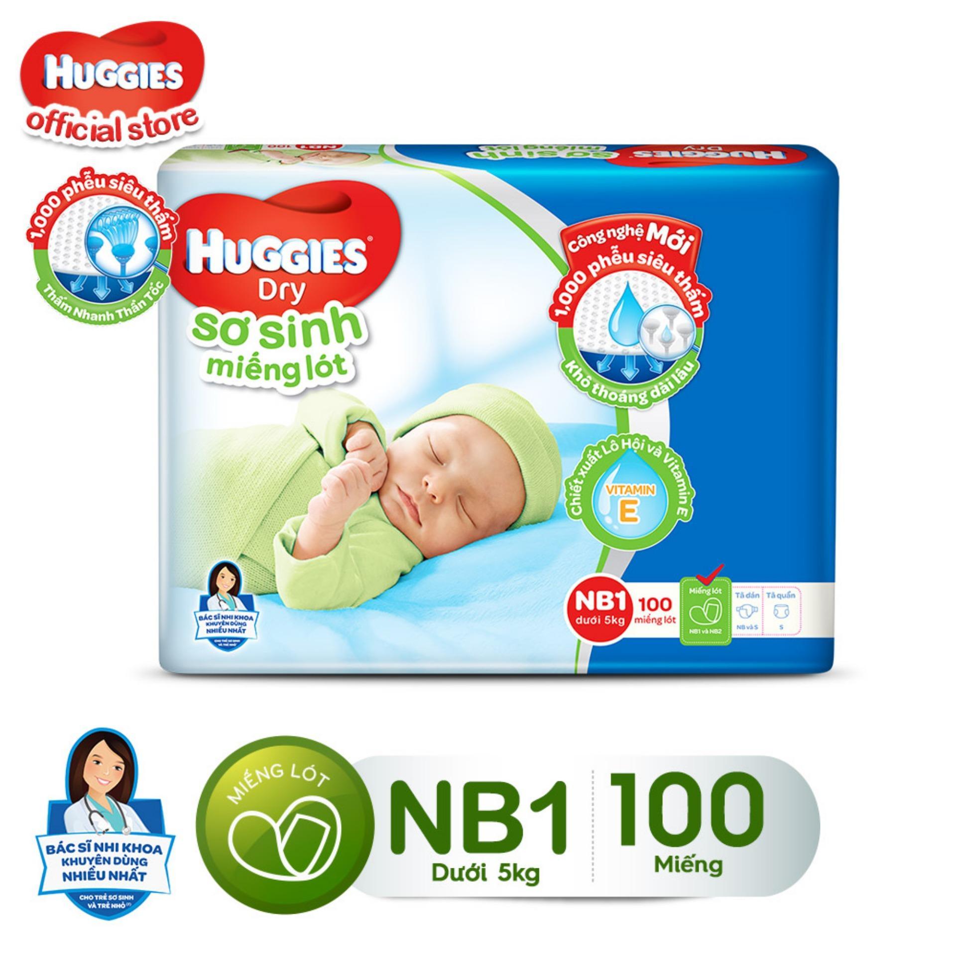 Miếng Lót Sơ Sinh Huggies NewBorn1 100 miếng dành cho...