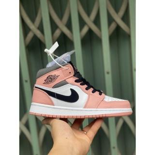 [FREE SHIP- Ảnh thật] Giày thể thao Jordan 1 hồng kẻ đen cao cổ thumbnail
