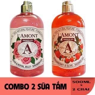 2 chai Sữa Tắm LAmont En Provence Hương Hoa Hồng và Hương Dâu Tây 500ML Chai thumbnail