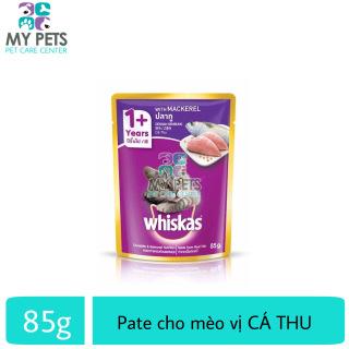 Thức ăn ướt pate xốt Whiskas hương vị Cá Thu dành cho mèo lớn - Gói 85g thumbnail