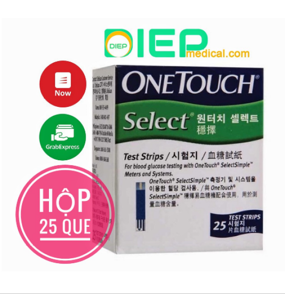 ✅ ONETOUCH SELECT HỘP 25 QUE - Que thử đường huyết máy One Touch Select Simple bán chạy
