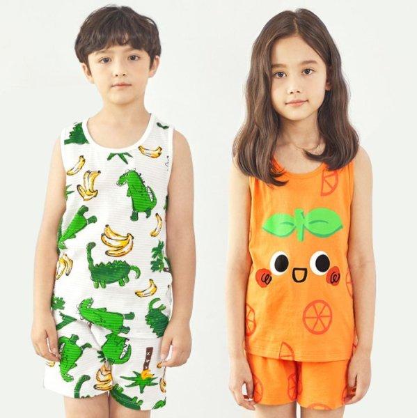 Nơi bán Đồ bộ ba lỗ cotton cho bé trai, bé gái mùa hè. Đồ ngủ, quần áo ngủ trẻ em dễ thương Unifriend U21 -906