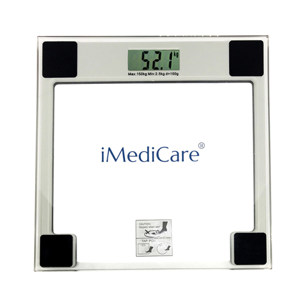 Cân sức khỏe điện tử IMEDICARE IS-303-Mặt cân kính cao cấp, công nghệ cảm biến thông minh, màn hình lớn LCD-Tự động