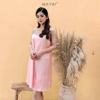 MAYBI - Đầm suông 2 dây hồng Pink short silk night dress thumbnail