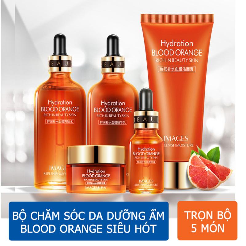 Bộ chăm sóc da mặt dưỡng trắng 5 món/chống lão hóa/chống nhăn/cấp ẩm/se khít lỗ chân lông Blood Orange Rich In Beauty Skin 5 món giá rẻ