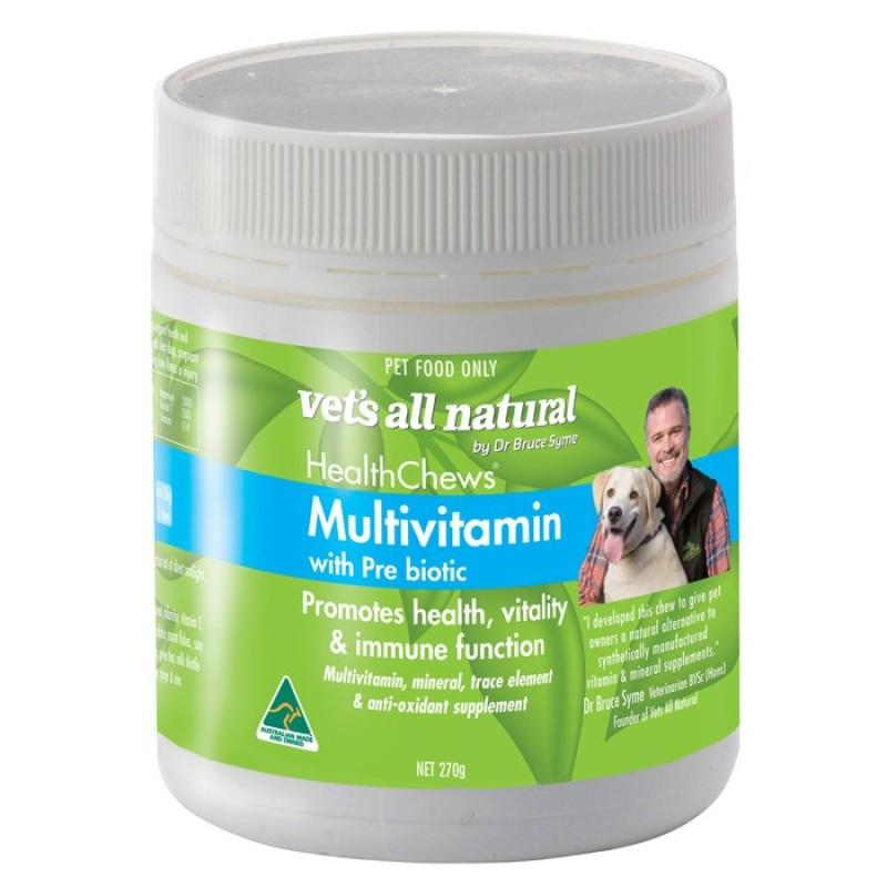 [xuất xứ Úc] Thực phẩm bổ sung vitamin tổng hợp cho chó VETS ALL NATURAL HEALTH CHEWS (MULTIVITAMIN w PREBIOTIC) 270g