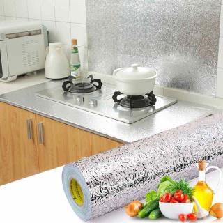 (LOẠI DÀI) Cuộn 3MX60CM decal giấy dán bếp, tủ , tường tráng nhôm cách nhiệt keo sẵn dễ dàng lau chùi thumbnail