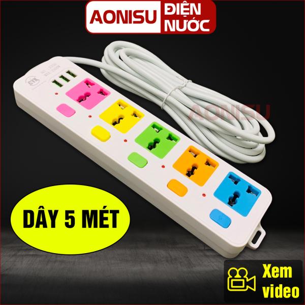 (CYX-335U) Ổ Cắm Điện Thông Minh 5 Phích , 3 Cổng Sạc USB , Dây Dài 5 Mét - Ổ Điện Đa Năng Có Công Tắc , Ổ Điện Thông Minh , Phích Cắm Điện Chống Giật , Phích Cắm Đa Năng
