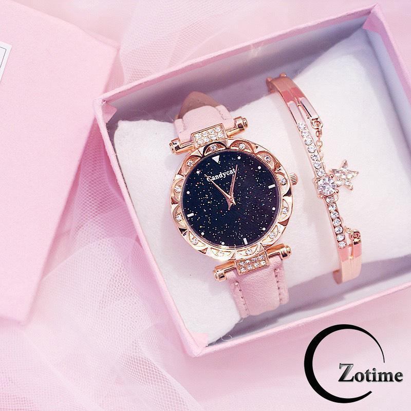 Nơi bán Đồng hồ thời trang nữ Candycat dây da nhung đính cườm ZO20
