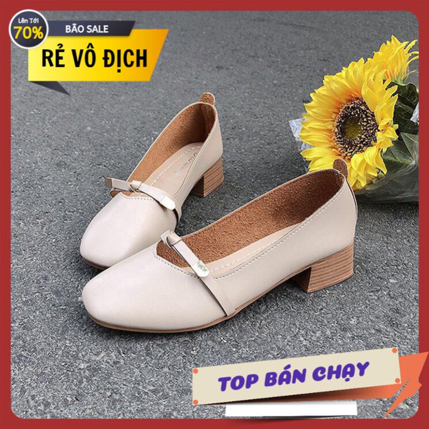 Giày nữ gót vuống cao 3cm nơ ngang công chúa xinh xắn giá rẻ