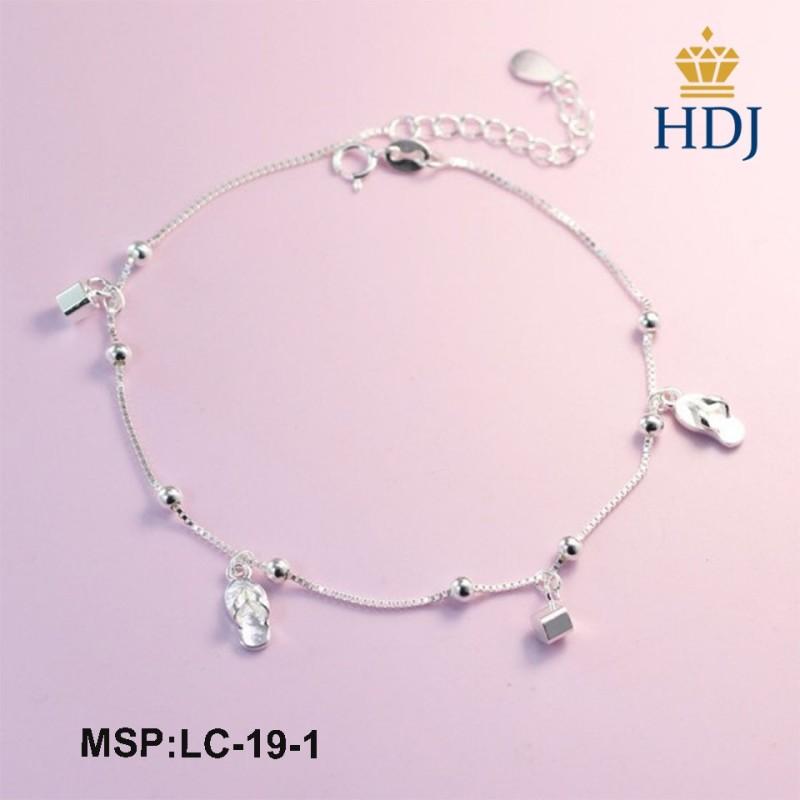 Lắc chân nữ bạc hình trái tim đính đá đơn giản trang sức cao cấp HDJ mã LC-19-1