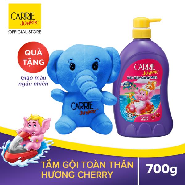 Tắm Gội Cho Bé Carrie Junior Hương Cherry 700gr Tặng Voi Bông Siêu Khuyến Mãi