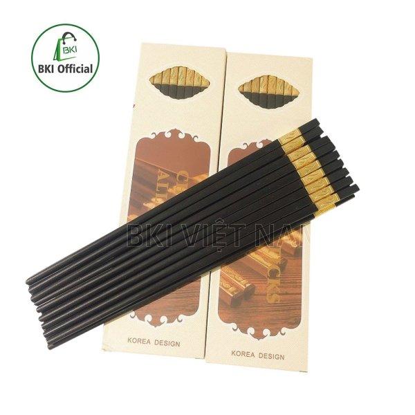 Bộ 10 đôi đũa hợp kim mạ vàng hàn quốc sang trọng cao cấp - chống trượt - chống mốc - bền màu, an toàn sức khỏe, đũa ăn