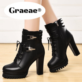 DCAMELOR GRAEAE Giày bốt nữ cao gót mũi tròn phong cách năng động thời trang mùa thu giá tốt - INTL thumbnail