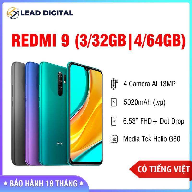 GIÁ RẺ MỖI NGÀY - [BẢN QUỐC TẾ] Điện thoại Xiaomi Redmi 9 3GB/32GB   4GB/64GB - FULL TIẾNG VIỆT - Chip Helio G80 8 nhân, Màn hình 6.53 FHD+, Camera 12MP/8MP/5MP/2MP, Pin 5020 mAh sạc nhanh 18W, Cảm biến vân tay, nhận diện khuôn mặt - BH