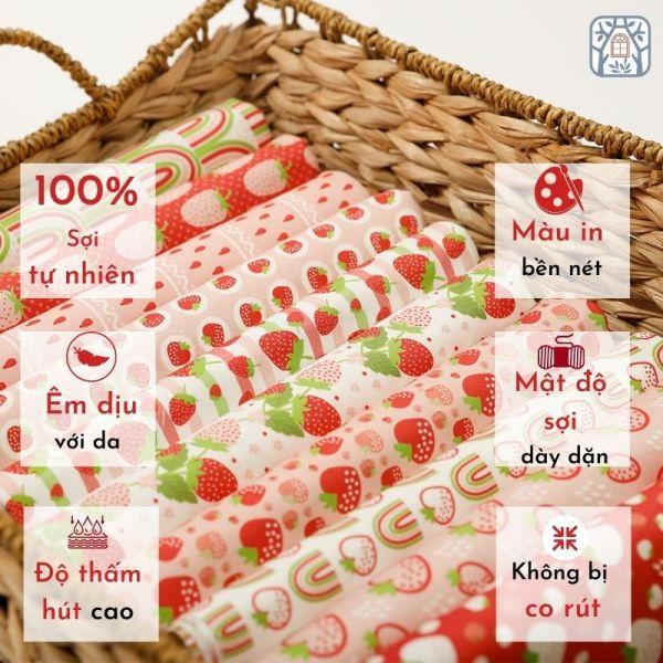 Vải cotton 100% tự nhiên🍒Chuanshui🍒khổ vải 150cm,quả dâu,strawberry- vải đẹp handmade, quilt, may quần áo, túi cao cấp