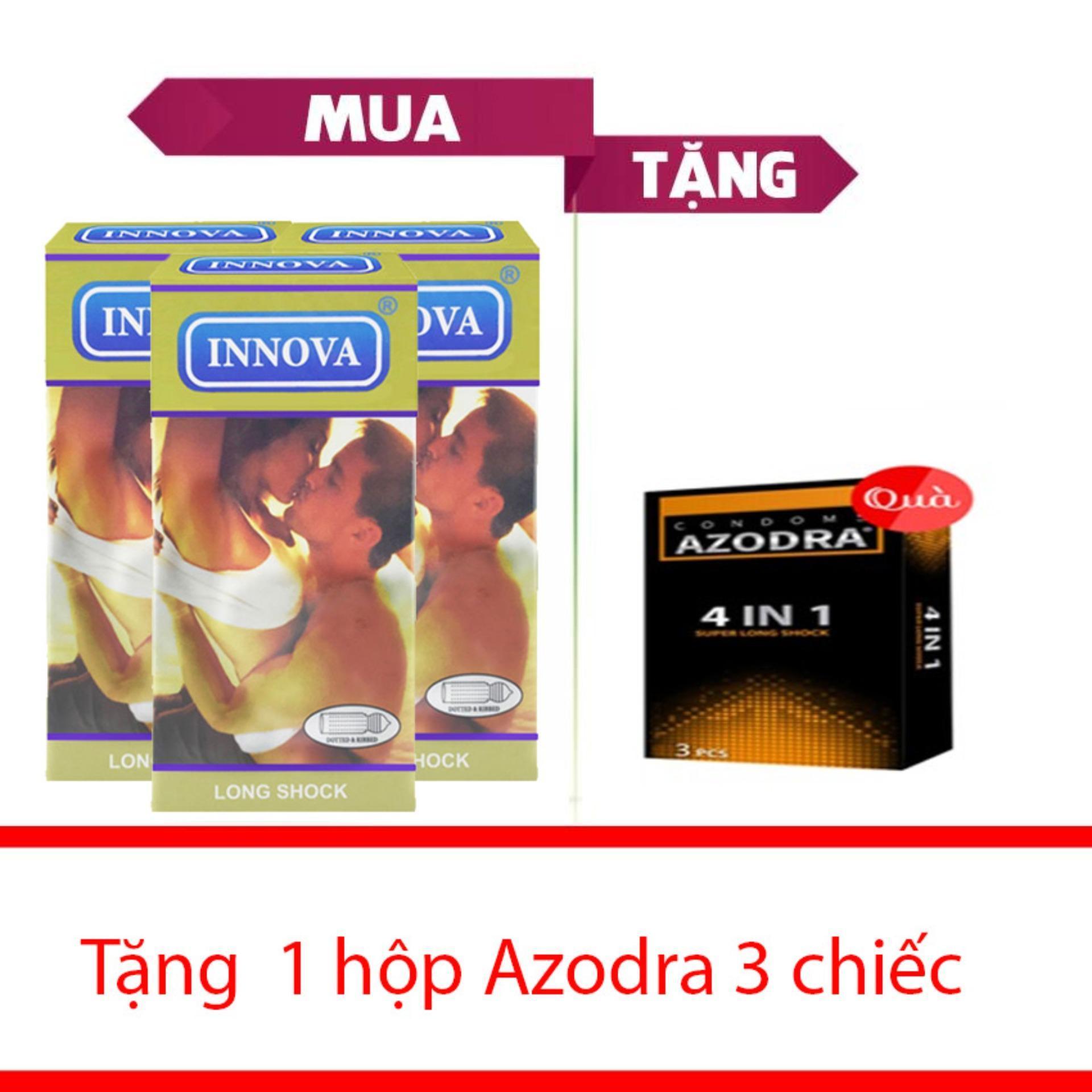 combo 3 hộp bao cao su innova vàng gân gai -kéo dài qh 12cai + tăng 1 hộp azodra 3c