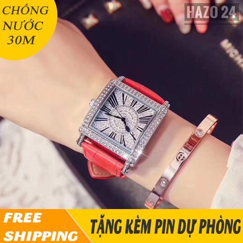 Nơi bán đồng hồ dây da nữ, đồng hồ nữ dây da FRML01 mặt vuông nạm đá sang trọng, cá tính, chống nước 30M ( 4 màu lựa chọn )