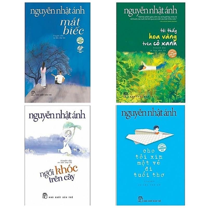 Combo 4 Cuốn: Mắt Biếc + Tôi Thấy Hoa Vàng Trên Cỏ Xanh + Cho Tôi Xin Một Vé Đi Tuổi Thơ + Ngồi Khóc Trên Cây + Tặng Bookmark