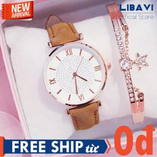 [TẶNG VÒNG TAY NGẪU NHIÊN] Đồng hồ nữ Candycat C46, đồng hồ mặt tròn La Mã đính đá, chạy 3 kim, dây đeo da cao cấp, kháng nước, chống trầy nhẹ (nhiều màu) thumbnail