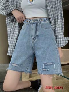 [ CAM KẾT Y HÌNH ] Quần short kaki jean nữ trơn lưng cao rách kiểu - quần ngố nữ - M4081- chất vãi kaki jean mềm - quần sọt jean nữ thời trang Jan s Fashion thumbnail