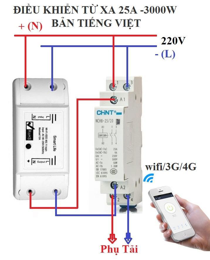 Bộ công tắc điều khiển từ xa wifi/3G/4G công suất lớn 3500W (25A) 1 công tắc wifi smart life + 1 khởi động từ CHINT 25A,cong tac hen gio