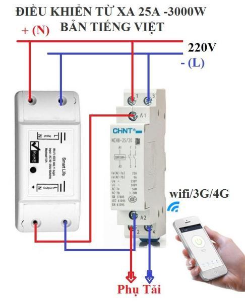 Bộ công tắc điều khiển từ xa bằng wifi/3G/4G 3000W 1 smart life và 1 khởi động từ chint 25A, cong tac wifi, cong tac dien thong minh,cong tac hen gio,cong tac khong day