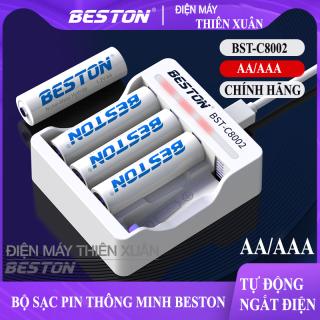 Sạc Pin AA AAA Tự ngắt Beston C8002, pin dung lượng cao Cho Micro Karaoke loa, đồ chơi trẻ em, đồng hồ, thiết bị điện tử, đèn flash, pin máy ảnh, xe điều khiển, đèn pin siêu sáng, loa kẹo kéo thumbnail