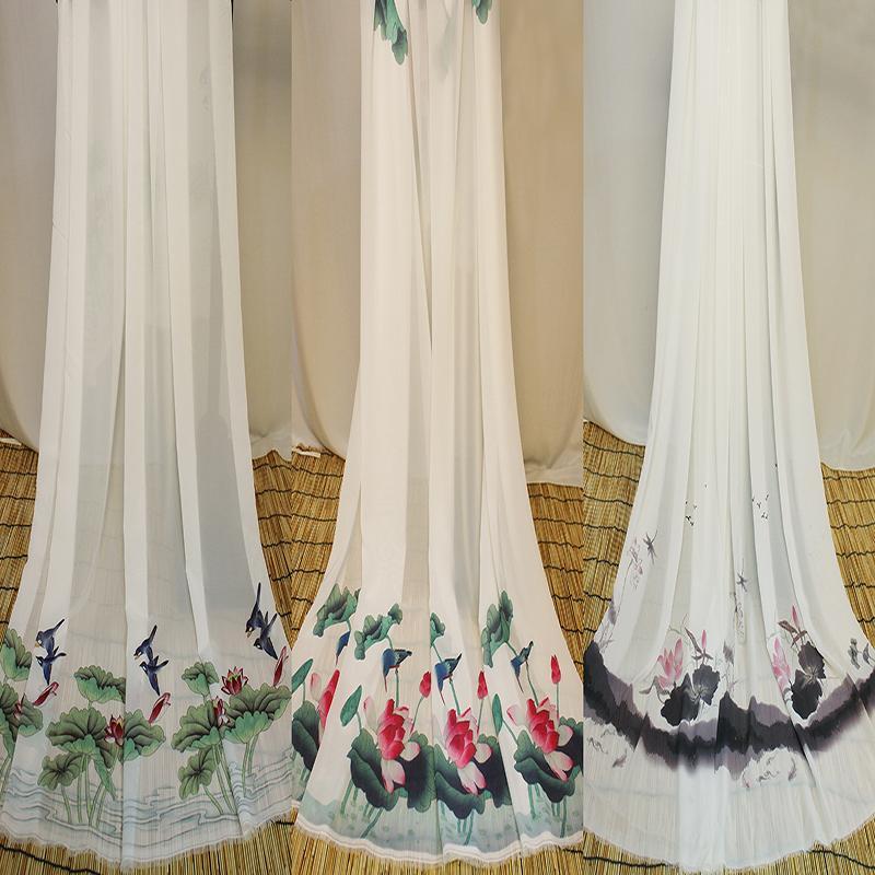 Ba Màu Sen Vải Chiffon Hoa In Chất Vải Vải Hán Phục Váy Chất Vải Cổ Trang Chất Vải Và Thủ Công Tự Làm