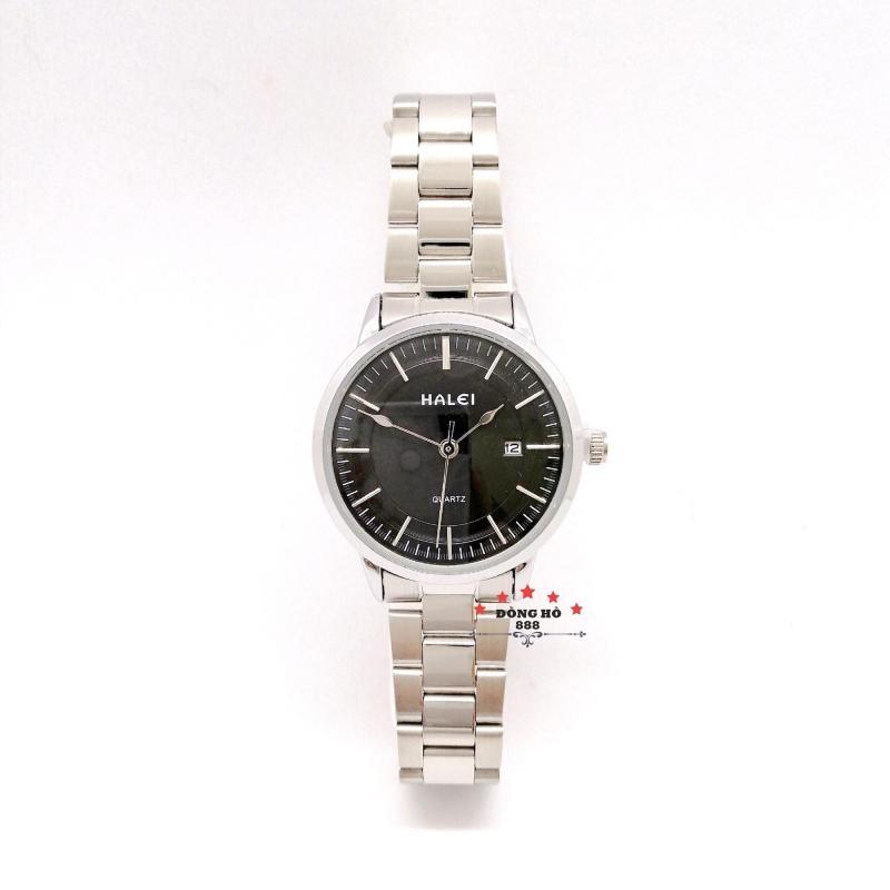Đồng hồ nữ HALEI dây kim loại có lịch thời thượng ( HL565 dây trắng mặt đen ) - TẶNG 1 vòng tỳ hưu phong thuỷ